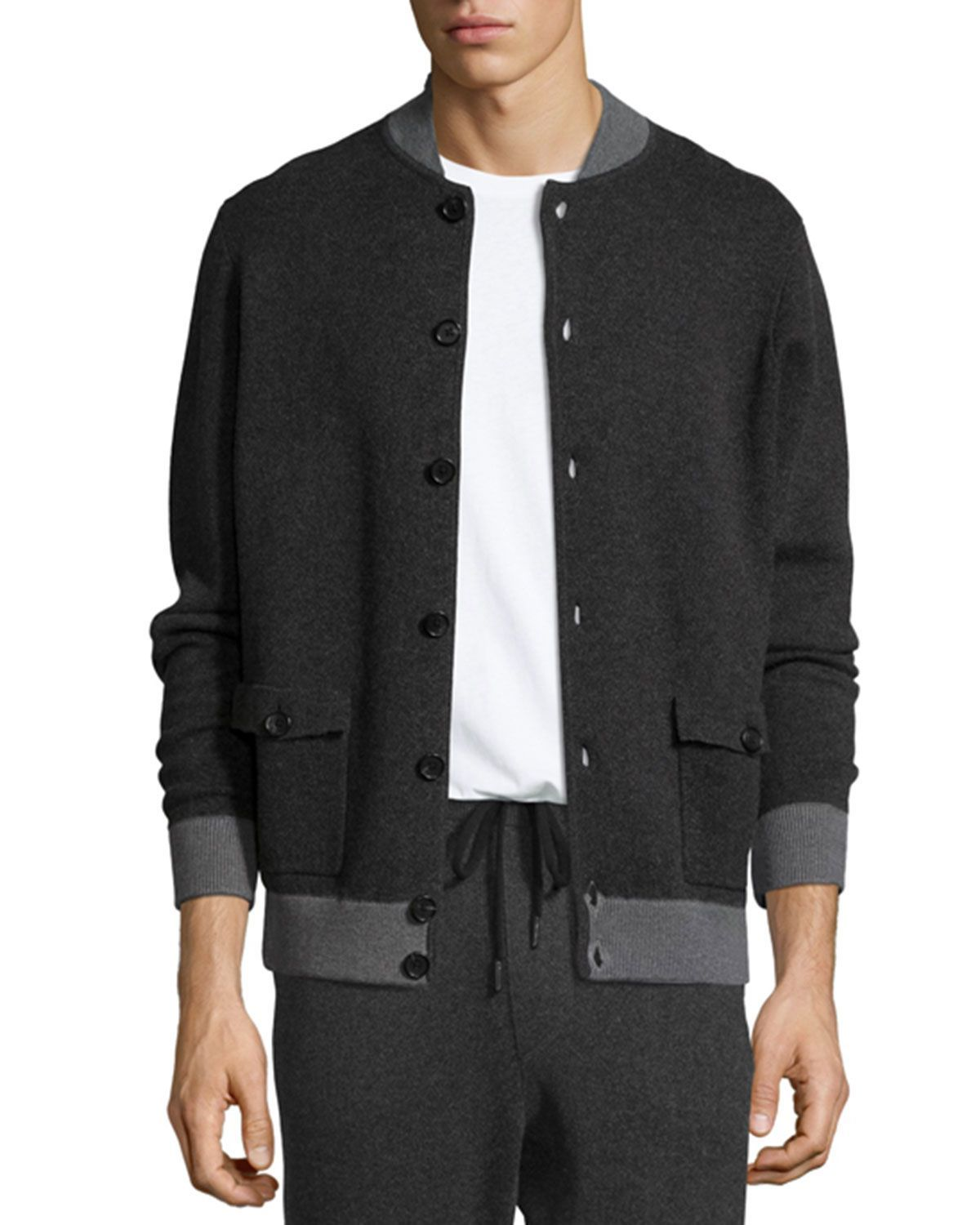 Cotton-Cashmere Baseball Cardigan, Black/Derby Gray | Cardigans ...