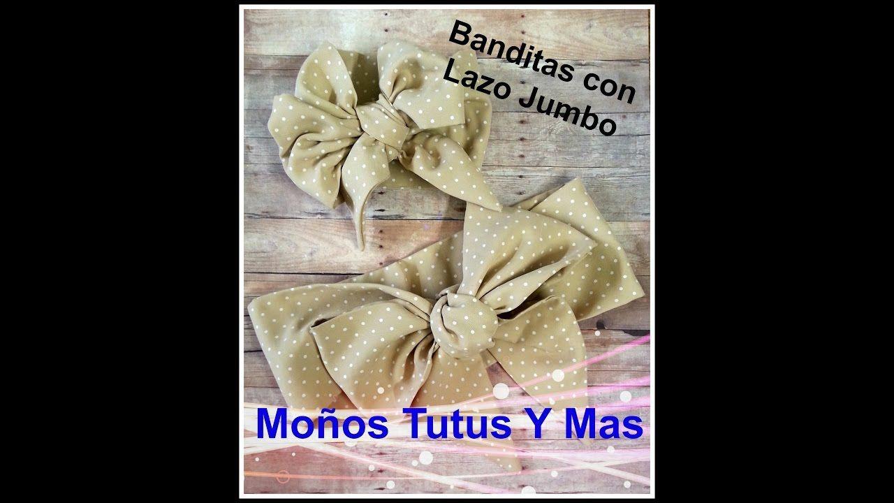 BANDITA DE TELA CON LAZO JUMBO Paso a Paso JUMBO BOW HEADBAND Tutorial DIY How To PAP - YouTube