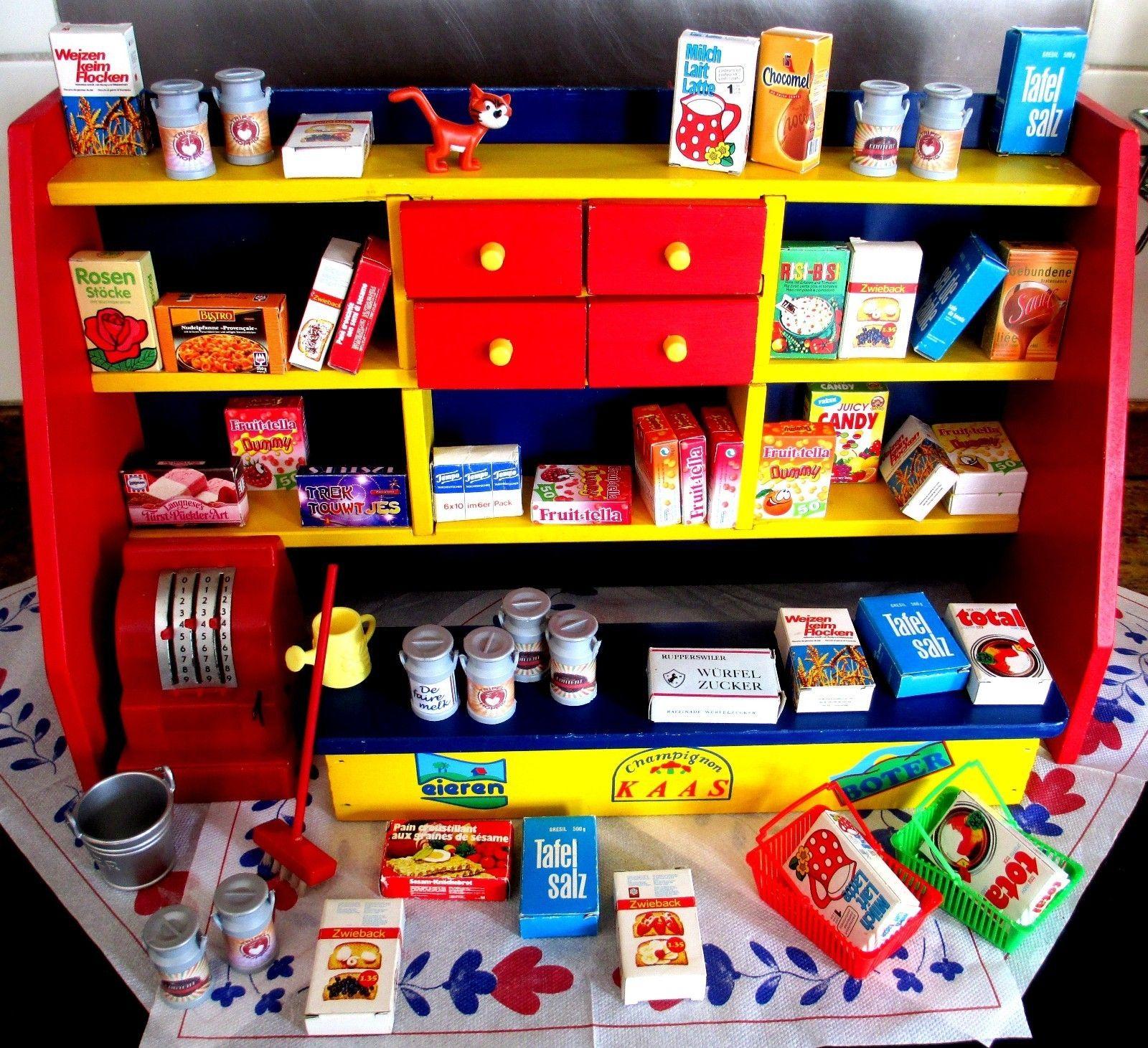 Vintage 60s 70s Wooden Play Set Shop Kitchen Childrens Market Toys