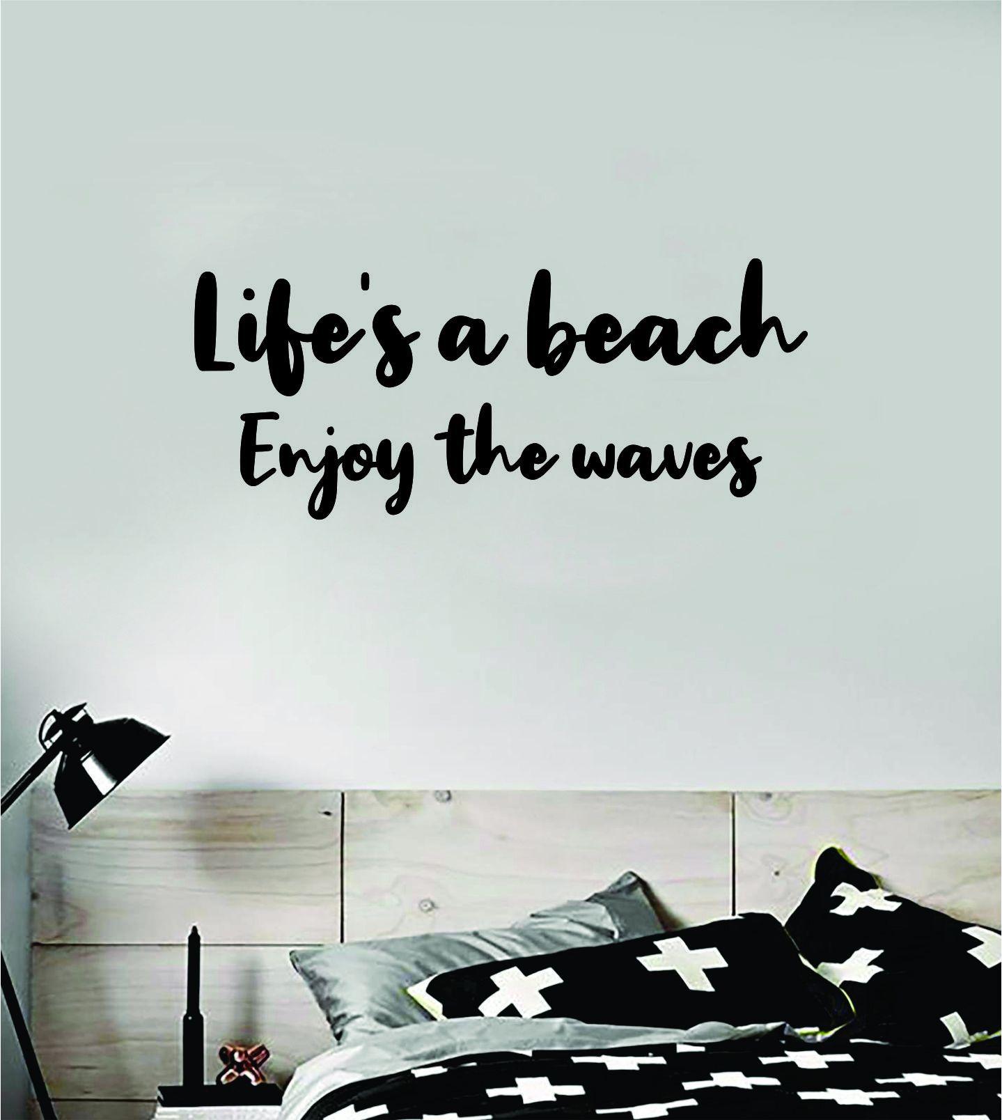 Life's a Beach Enjoy the Waves Wall Decal Sticker Vinyl Art Bedroom Room Home Decor Inspirational Ocean Surf Teen - gold