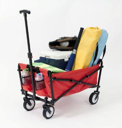 Ysc Wagon Garden Folding Utility Shopping Cart Beach Red Garden