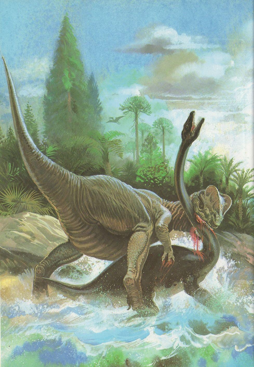 Dilophosaurus and Plesiosaur by Andrew Howatt | Dinosaurs ...
