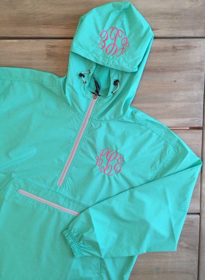 Womens Monogrammed Charles River pullover lightweight rain jacket by PreppyMonograms2 on Etsy https://www.etsy.com/listing/459590798/womens-monogrammed-charles-river