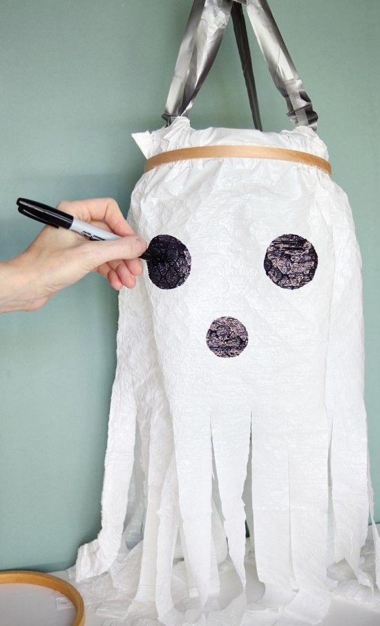 make it the new way to make plastic bag ghosts Ghost crafts - decorate halloween bags