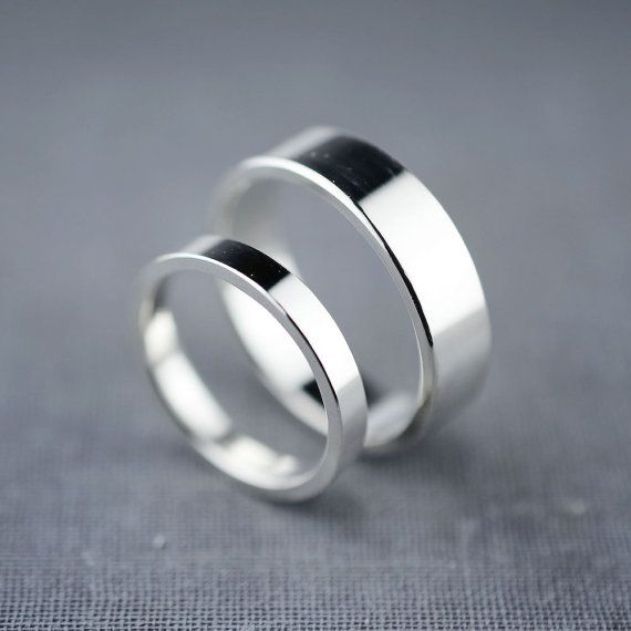 Recycled Sterling Silver Wedding Rings Flat Wedding Bands Wedding
