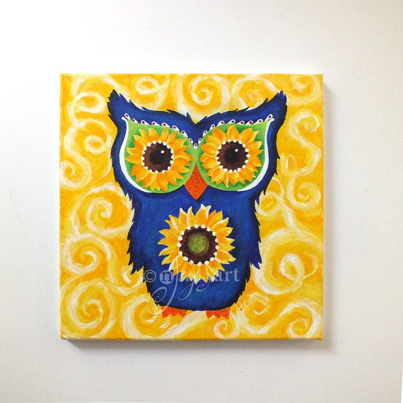 Acrylic Painting, Owl with Sunflower Eyes, Whimsical Wall Art ...