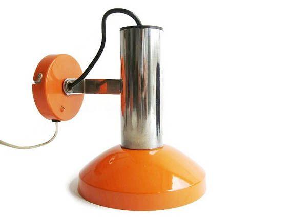 Vintage orange and chrome spot light wall lamp sconce lamp space age vintage orange and chrome spot light wall lamp sconce lamp aloadofball Choice Image