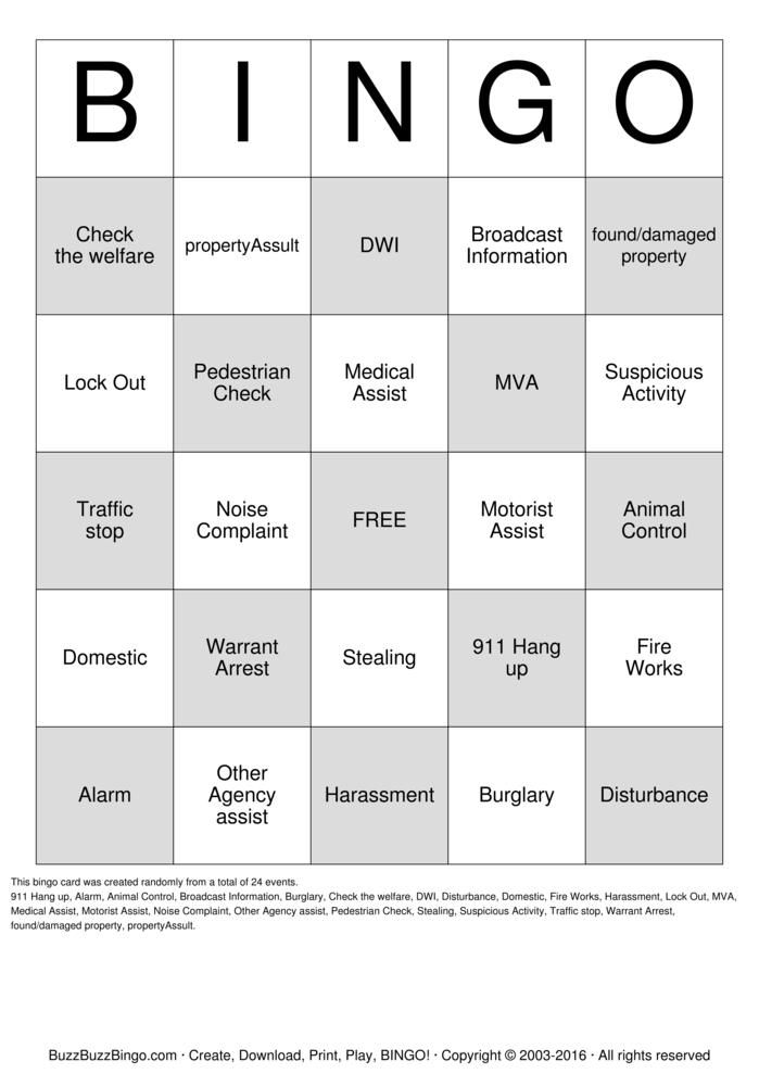 Randomly Generated Dispatch Bingo! Bingo Card Dispatch Bingo - police dispatcher resume