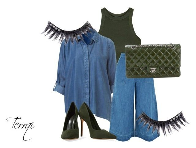 """""""Khaki&Jeans"""" by terrqi on Polyvore featuring moda, Topshop, New Look, Schutz, Chanel i Manic Panic"""
