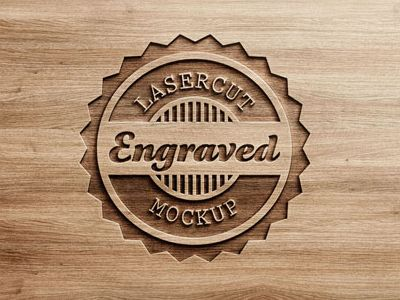 Logo Mock Up Carved Wood Inked Woodworking Furniture