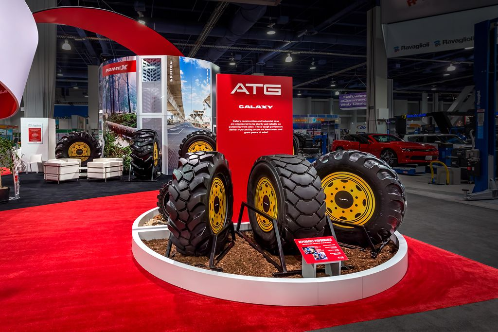 custom tire displays for atg trade show booth sema cool exhibit features pinterest. Black Bedroom Furniture Sets. Home Design Ideas