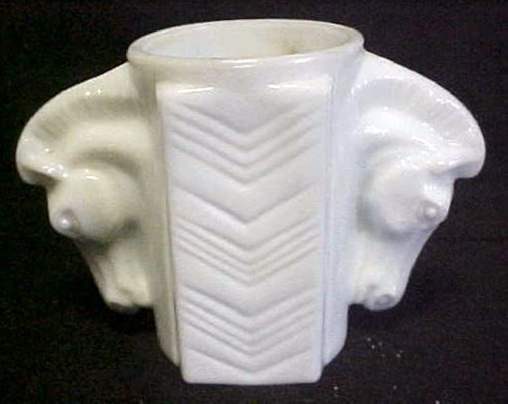 c1930 Milk Glass Double Horse Head Cigarette Holder Vase