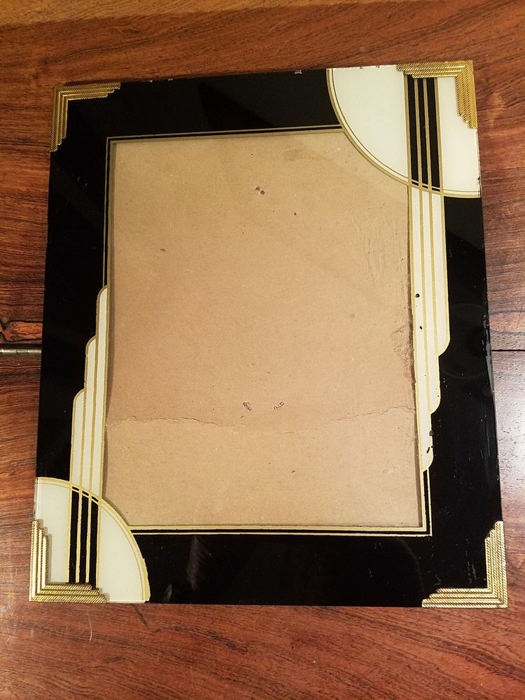Vintage Art Deco Reverse Painted Glass Picture Frame Black