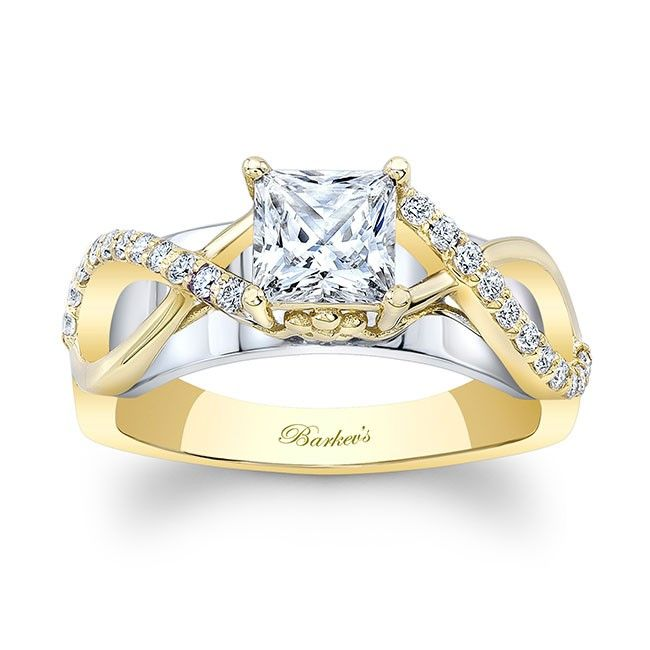 White Yellow Gold Princess Cut Engagement Ring 8018lty