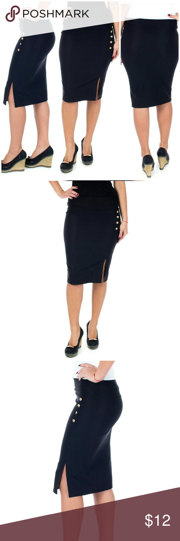 """Women Pencil Side Button Skirt, d-4024, Black Knee length stretch Forever Young women professional pencil skirt with a classic side slit and button accents is perfect for office wear. Comfortable, elastic, not lined pull-on. Can be worn on or below waist. Skirt length approx. 23.5"""". A true statement in ladies fashion! Waist: small 26"""", medium 28"""", large 30"""", XL 32"""", XXXL 36"""". Forever Young Skirts"""