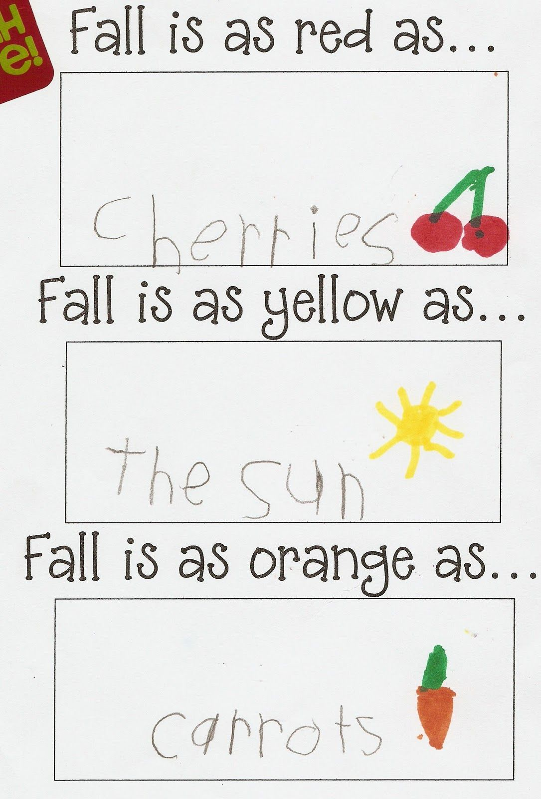 Peterson Kindergarten Fall Writing