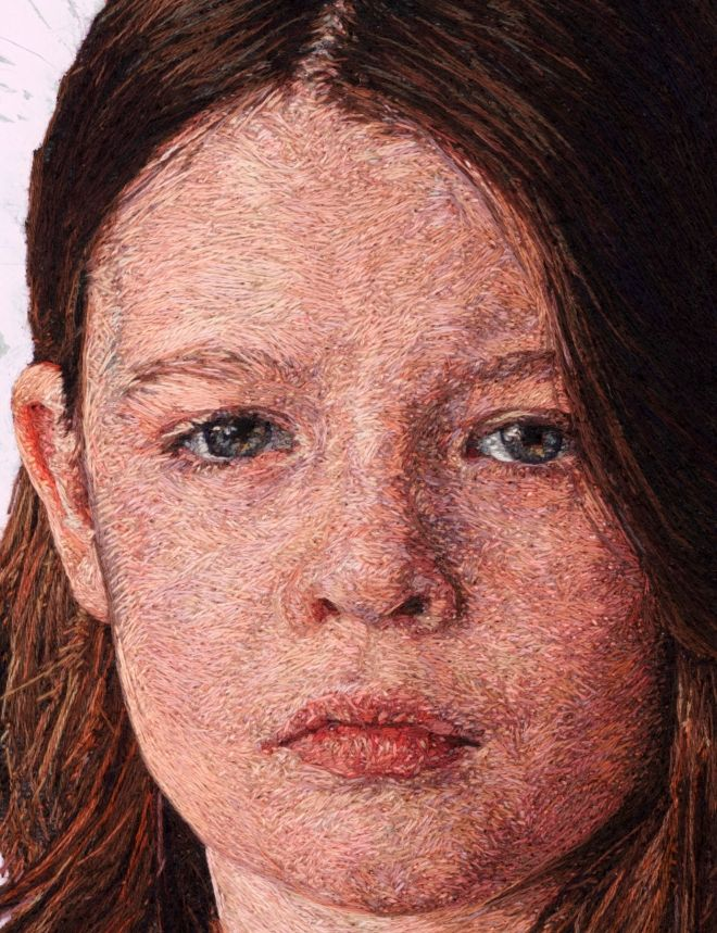 Hyper-realistic portrait paintings that are actually embroidered masterpieces  by Cayce Zavaglia