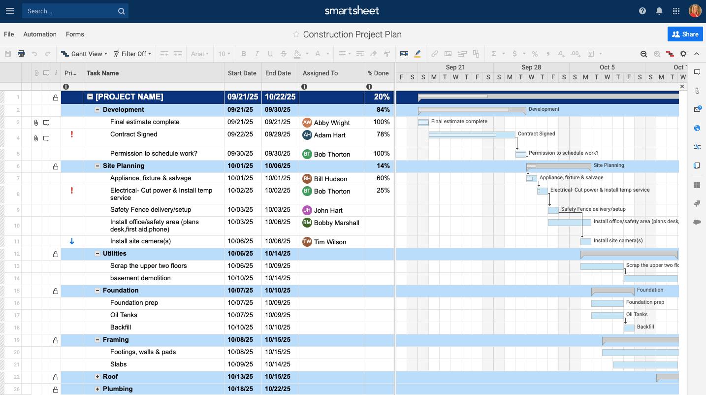 Excel Construction Management Templates Project