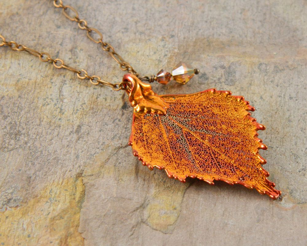 Real leaf necklace - Birch leaf in iridescent copper. CUgOlcQTv