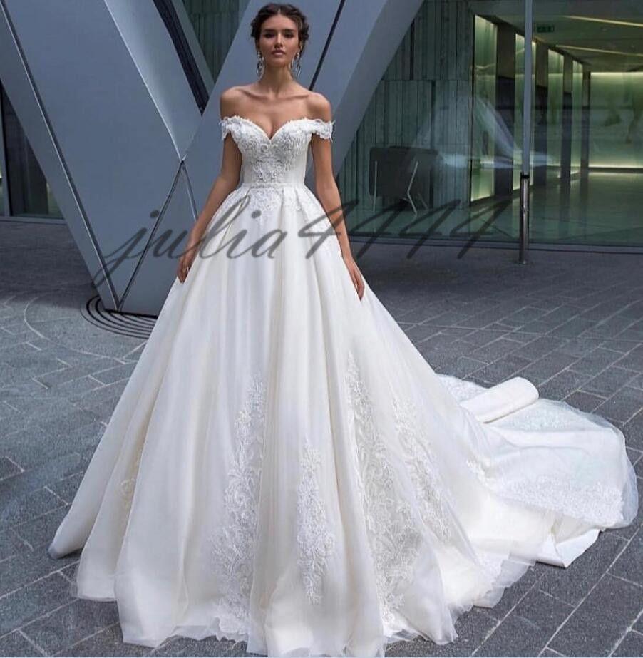 Country Champagne Tulle Wedding Dresses 2019 Elegant Off Shoulder