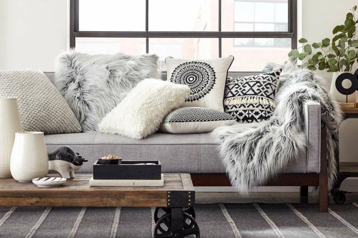 1001 designs magiques pour cr er un salon cocooning salon home decor canape salon deco salon - Salon cocooning gris ...