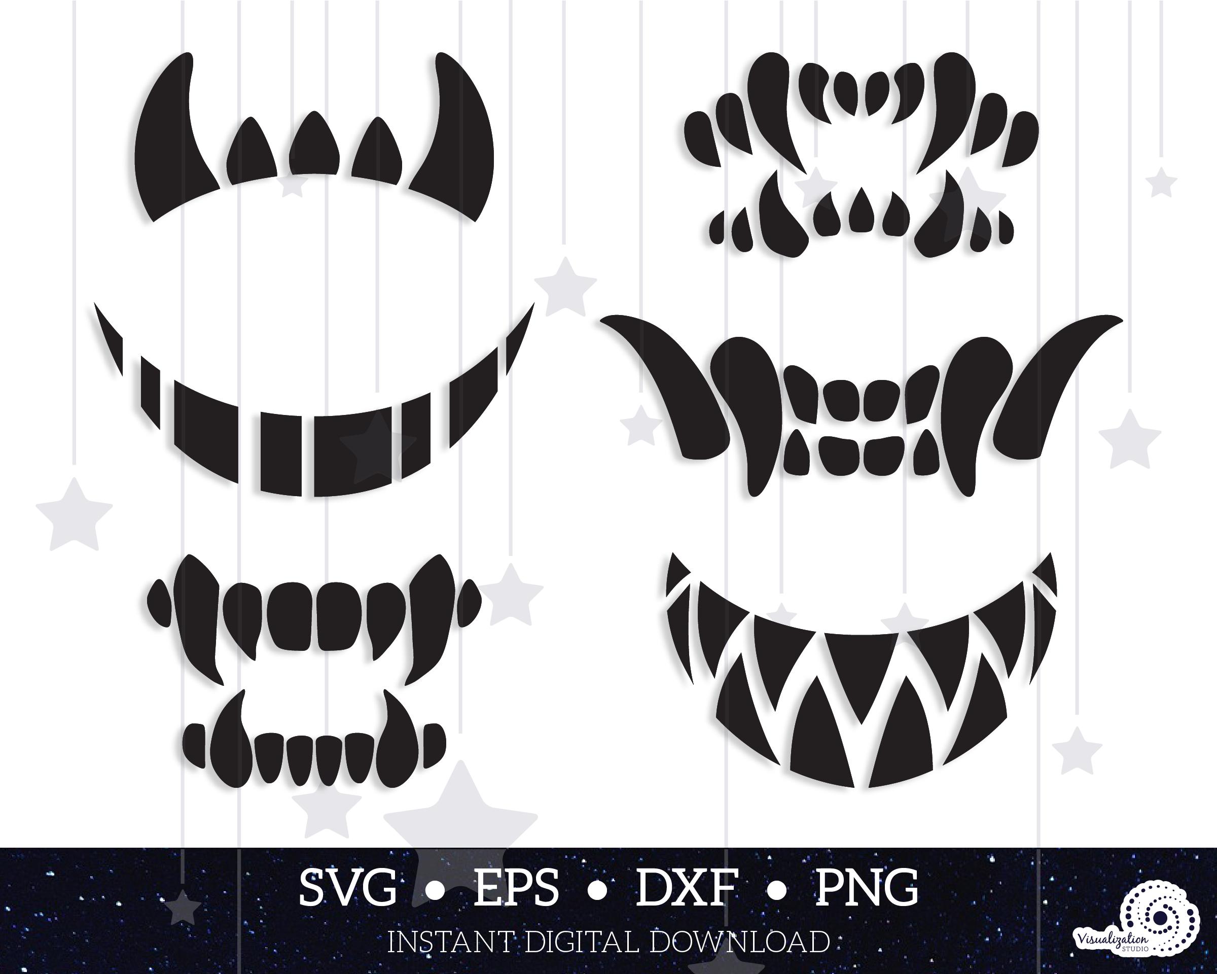Scary Fangs And Teeth Halloween Vector Set Instant Digital Etsy In 2020 Halloween Vector Halloween Face Mask Diy Mask