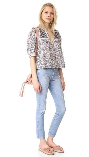 e0bdb094070 La Vie Rebecca Taylor Short Sleeve Zinnia Floral Top