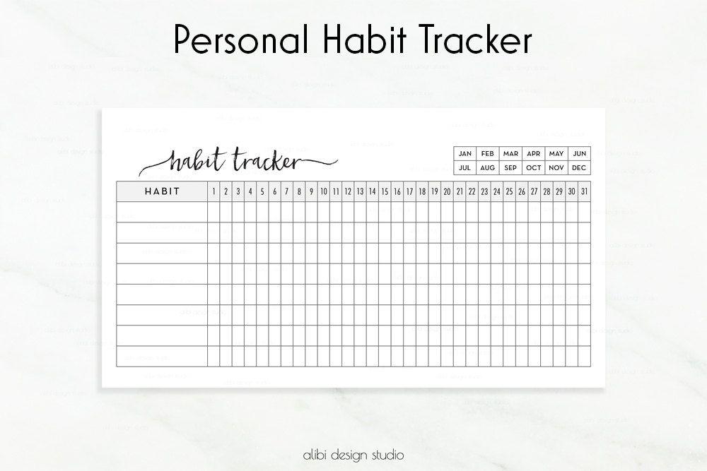 Habit Tracker, Personal Planner, Daily Habit Tracker, Goal Planner