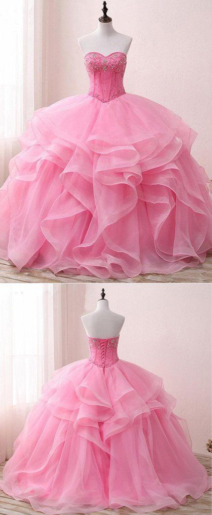 Sweetheart pink organza beaded long customize prom gown, pink long ...