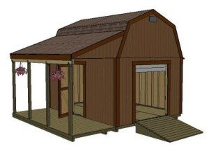 Barn shed plans use a longer overhang to cover the boat for Boat storage shed plans