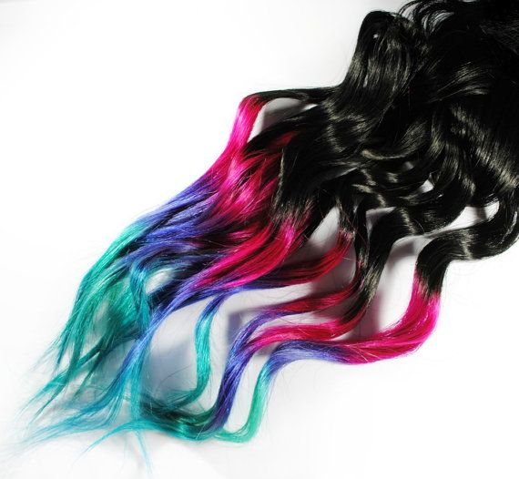 Ombre Rainbow Dip Dyed Tips - Human Hair Extensions