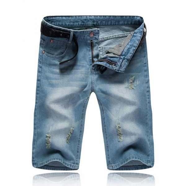 24.36$  Watch here - http://difr6.justgood.pw/go.php?t=189133404 - Zipper Fly Distressed Men's Denim Shorts 24.36$