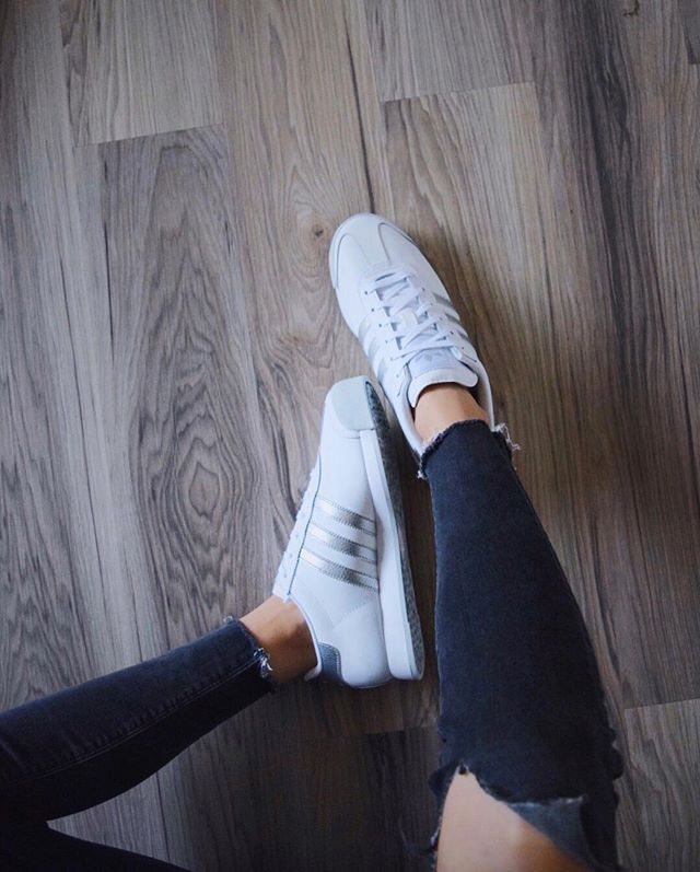 adidas samoa white and silver
