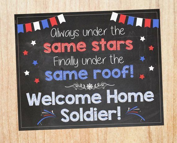 Welcome Home Deployment Sign PRINTABLE homecoming poster welcome back soldier