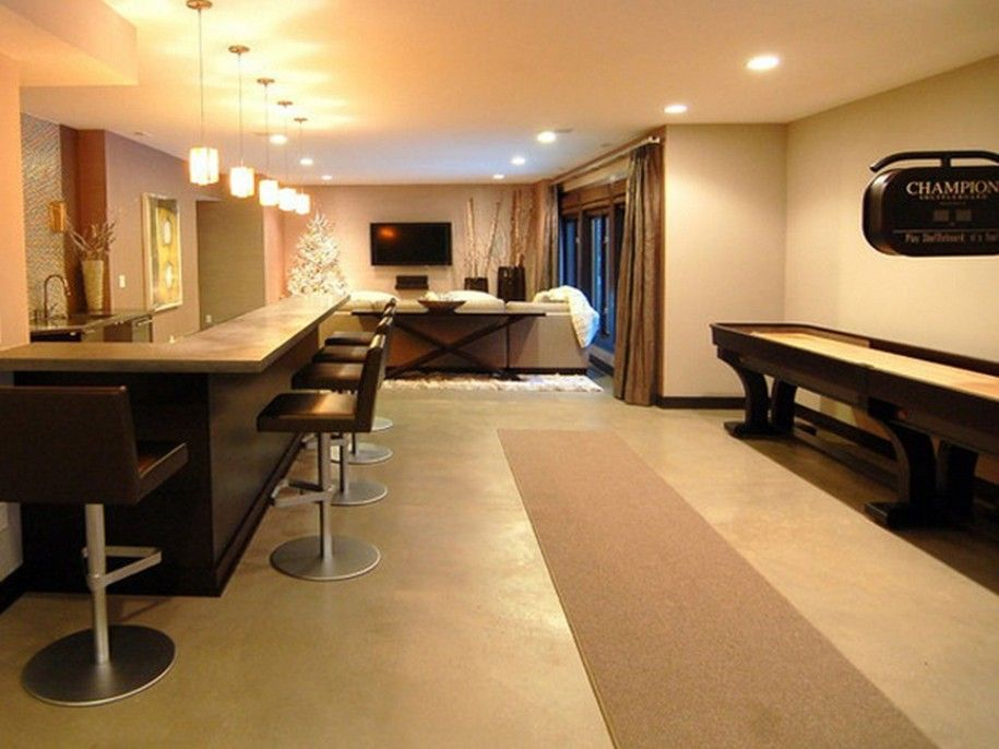 Minimalist Idea Of Finished Basement In Open Floor Concept With L Shaped Bar And Modern
