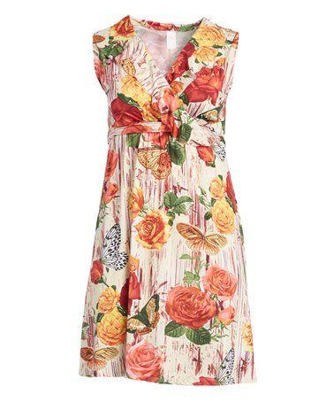 Peach Floral Butterfly Ruffle-Front Surplice Dress - Plus #zulily #zulilyfinds