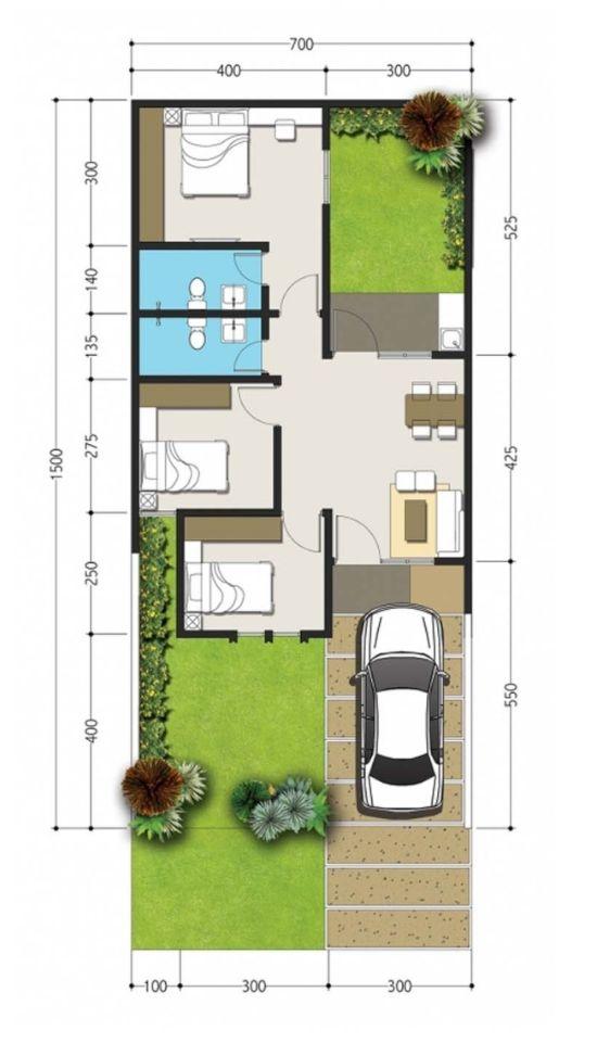 Denah Rumah 2 Lantai Lebar 7 Meter x 15 Meter ~ Desain Rumah...