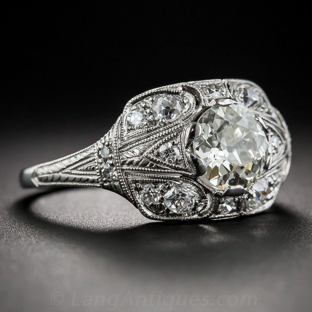1.10 Carat Diamond Platinum Art Deco Engagement Ring
