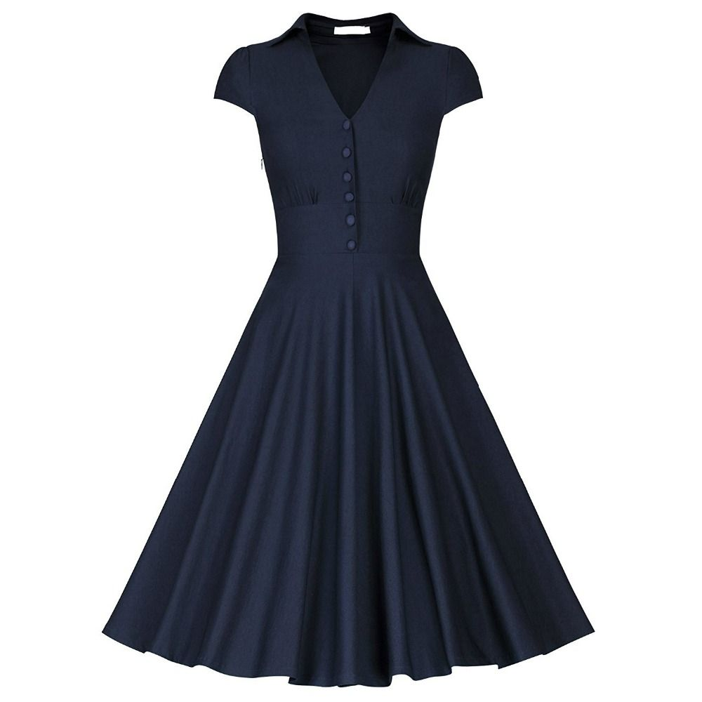 Click to buy ucuc womenus vintage cap sleeve high waist fitted flare