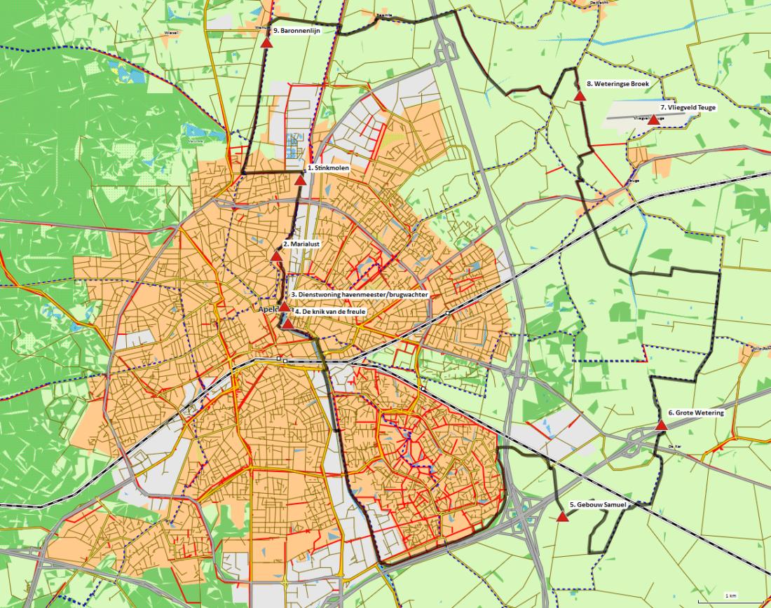 Kaart fietsroute Rondje Apeldoorn Oost