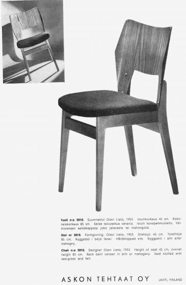 Asko 2010 tuoli Olavi Lieto | Nordic Vintage Shop