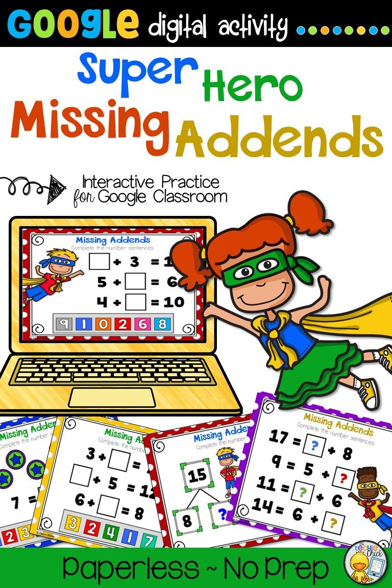Distance Learning Missing Addends For Google Classroom Google