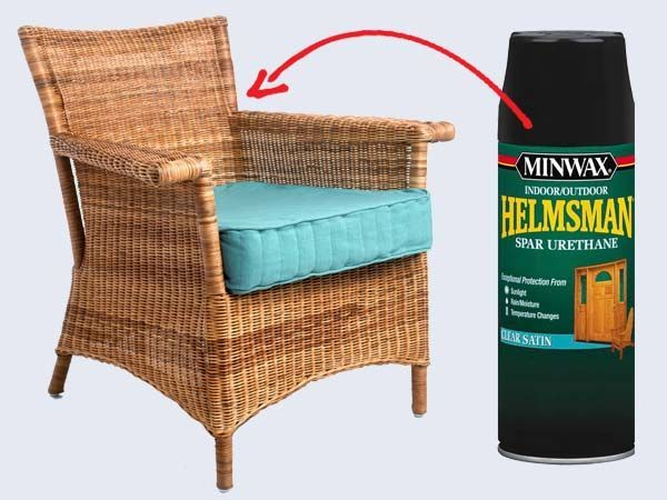 to Weatherproof Furniture How to weatherproof wicker furniture: Give your piece two coats of the paint of your choice, then top it with a layer of spray marine varnish, such as @minwax Helmsman Indoor/Outdoor Spar Urethane (from $10; Amazon). Wicker traps moisture easily; if it gets under the finish, it will damage the fibers from the insid