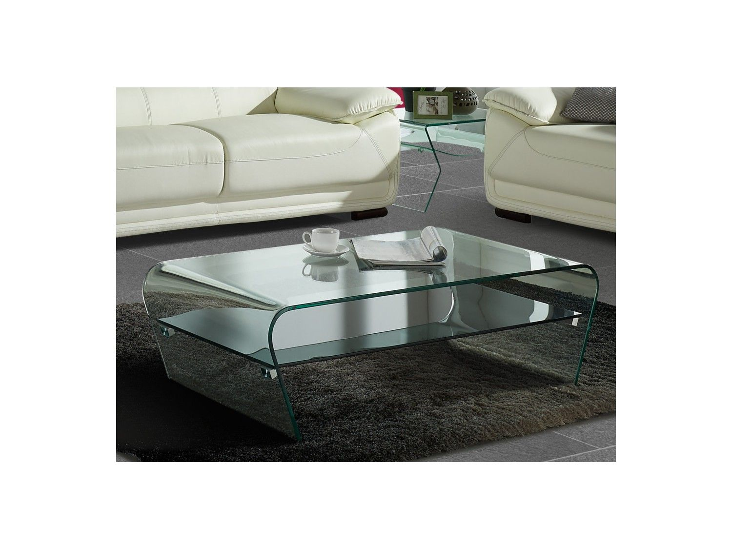 Table Basse Kelly Verre Tremp Tablette Noire Laqu E Meuble  # Table Tv D'Angle En Verre Design Transparent