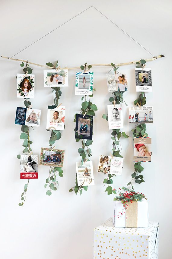 DIY Eucalyptus Garland Christmas Card Display Party Harty
