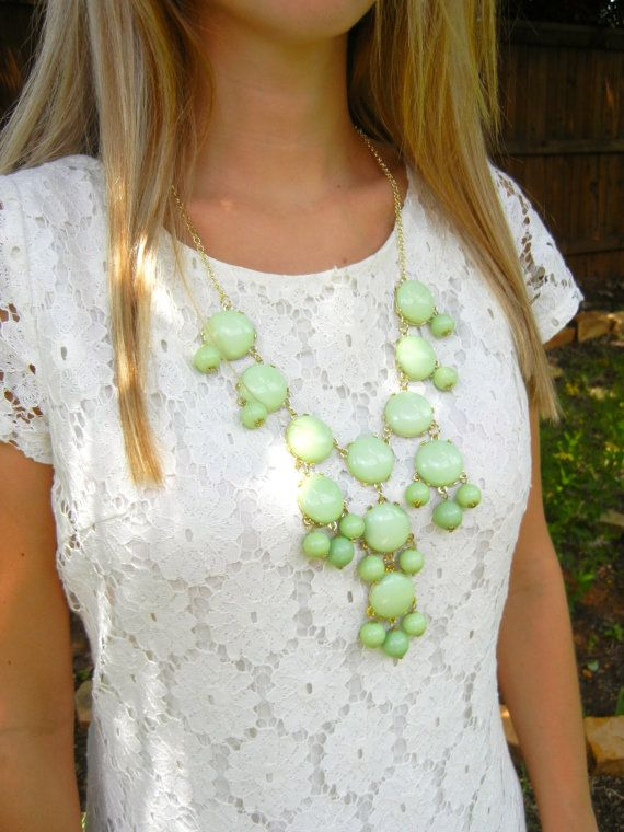 The Sarah Wasabi Green Large Bubble Necklace   by PlumbGlad, $14.99 Perfect Fall Transition Necklace- Large Wasabi Green Bubble Necklace
