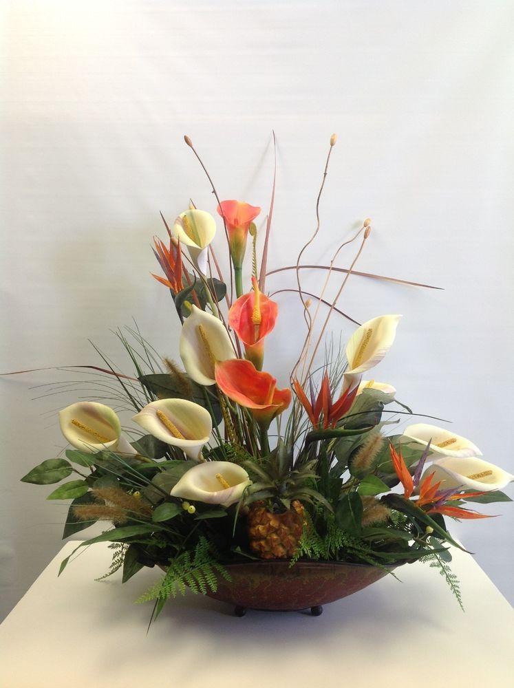 white calla lilies silk flower arrangement