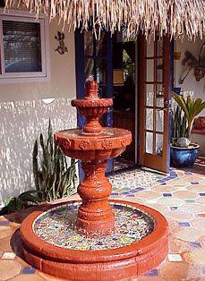 Garden talavera fountain talavera pottery pinterest for Mexican style outdoor fountains