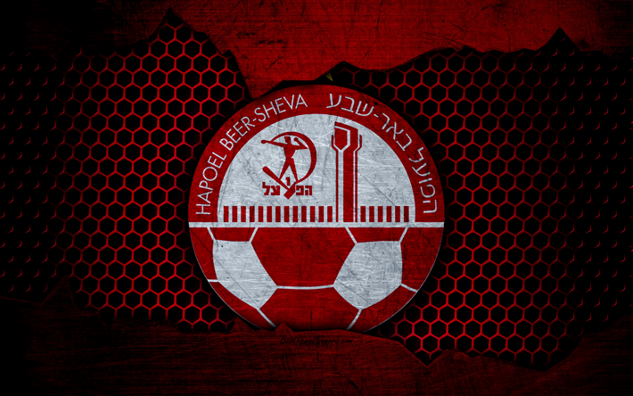 Download wallpapers Hapoel Beer Sheva, 4k, logo, Ligat haAl, soccer, football club, Israel, grunge, metal texture, Hapoel Beer Sheva FC