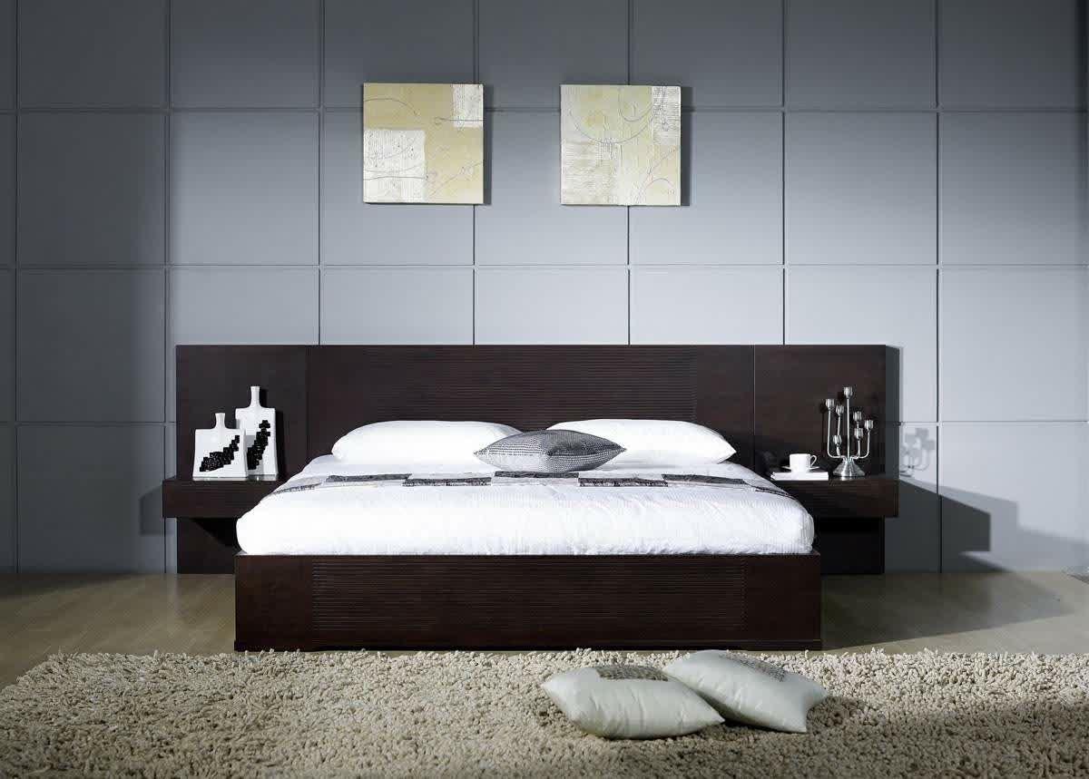 Minimalist Wooden Bed For Elegant Modern Bedroom Using Creative Headboard Ideas